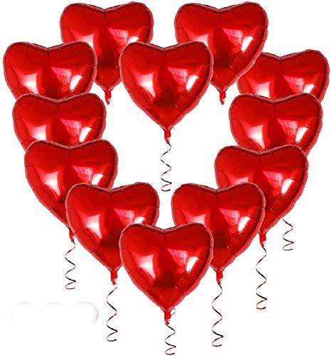 Globos de Corazón,Globos de Papel de Aluminio,30 Globos Corazón Decoración Romantica para día de San Valentín, Boda,Globos Decoraciones de Fiesta Globo de lámina de corazón(rojo)