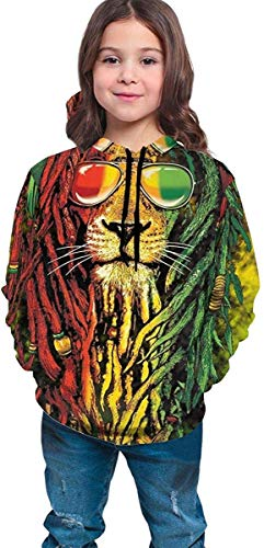 dgfgad Kapuzenpulli Hooded Youth Sweatshirt Teen Boys Girls 3D Print Rastafarian Rasta Lion Pullover Hoodies Hooded Sweatshirts Tops Blouse with Pocket