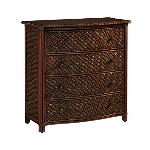 Home Styles Marco Island Cinnamon Drawer Chest with Four Drawers, Sculpted Palm Mahogany Hardware, Natural Woven Rattan Panels, Twisted Rattan Edged Top, and Solid Mahogany Posts