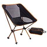 Threewwwアウトドアチェア 折りたたみ椅子 背もたれ 耐荷重150kg アルミ合金&オックスフォード 収納バッグ付き 軽量版900g (オレンジ)