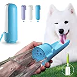 Botella de Agua para Perros Gatos 420 ml, Botellas para Mascotas Portátil Plegable de 180 ° con Cepillo de Limpieza, a Prueba de Fugas, sin BPA, para Viajes Aire Libre, Senderismo, Camping (Azul)