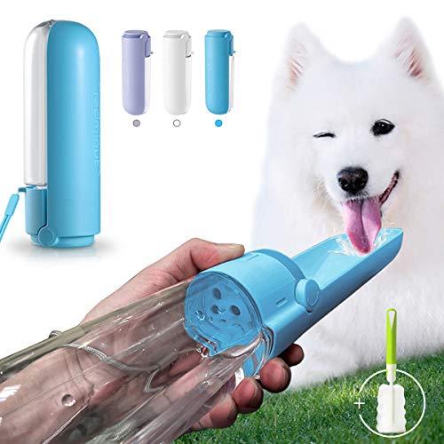 Botella de Agua para Perros Gatos 420 ml, Botellas para Mascotas Portátil Plegable de 180 ° con Cepillo de Limpieza, a Prueba de Fugas,...