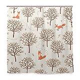 Orediy Badezimmer-Duschvorhänge Füchse Bäume Wasserdicht Anti-Schimmel-Polyester 180 x 180 cm Badvorhang mit Haken Heimdekoration