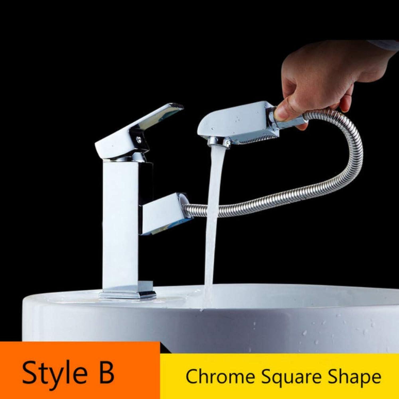 Mzdpp Antique Brass Pull Out Bad Wasserhahn Deck Montiert Vanity Sink Heie Und Kalte Becken Mischbatterie Deck Montiert Messing Kran Hahn, B FT-556