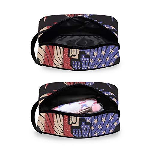Reise-Kosmetiktasche für Damen oder Herren – Tier-amerikanische Flagge, Bedruckt, Kosmetiktasche, Make-up-Tasche für Badezimmer Dusche