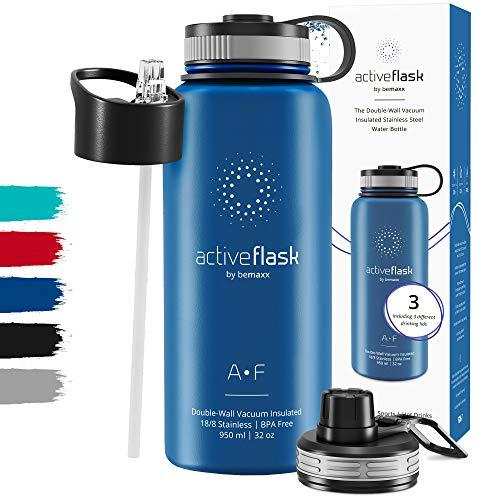 Trinkflasche Edelstahl ACTIVE FLASK + Strohhalm (3 Deckel) BPA-frei, Auslaufsicher, Kohlensäure geeignet - Wasserflasche Fahrrad Thermosflasche Isoliert Isolierflasche Sport Wasser Flasche Kinder Tee