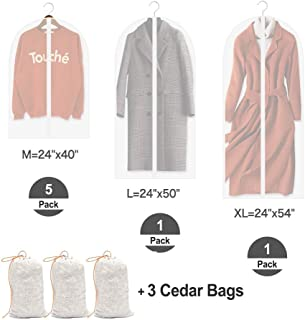 HomeDo 7Pack Garment Bag Suit Bags for Storage and Travel with 3Pack Cedar Wood Bags, Washable Suit Coverfor Dresses, Suits, Coats, Clear Garment Cover, Full Zipper Suit Bags, PEVA, 1XL+1L+5M+3Cedar Bags