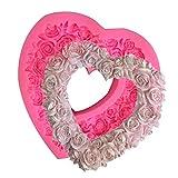 Incdnn Molde de silicona con forma de corazón en 3D para fondant, diseño de guirnalda de amor en relieve, ideal para bodas, día de San Valentín, tartas, chocolate, postres, etc.