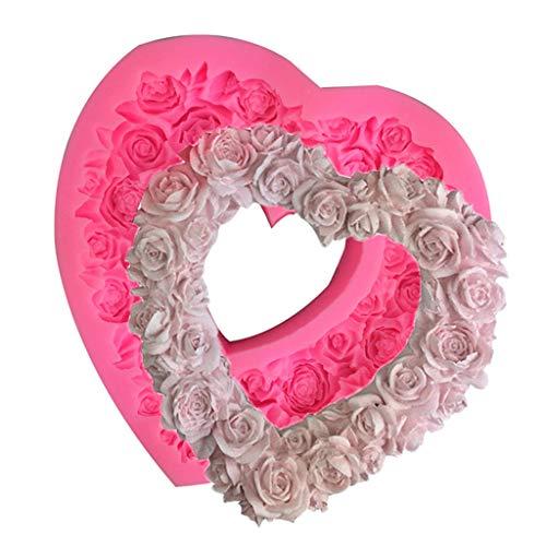 MOMOJIA Molde de silicone em formato de rosa em formato de coração 3D em relevo para guirlanda de amor