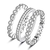 XBRN 3Pcs 2mm Women Stackable Eternity Ring Wedding Bands,18K White Gold Plated Cubic Zirconia Promise Rings Set (10)