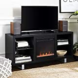 Walker Edison Furniture Company Modern Wood and Metal Fireplace Stand for TV's up to 64' Flat Screen Living Room Storage Shelves Entertainment Center, Black