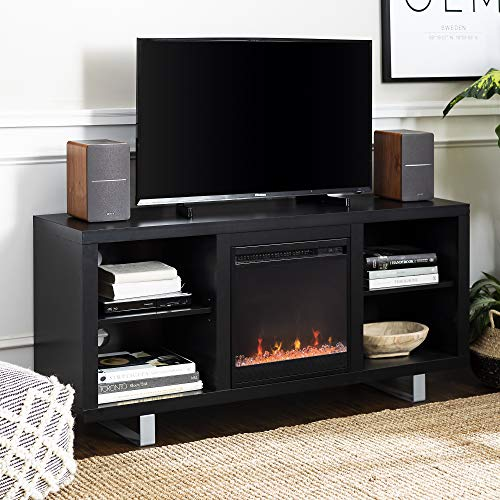 "WE Furniture 58"" Simple Modern Fireplace TV Console - Black"