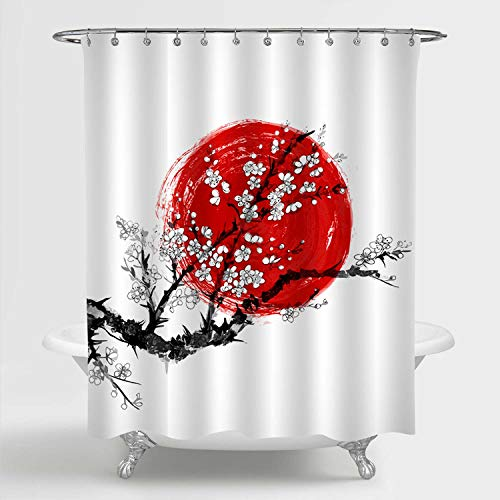 Japanese Red Cherry Blossom Shower Curtain Set