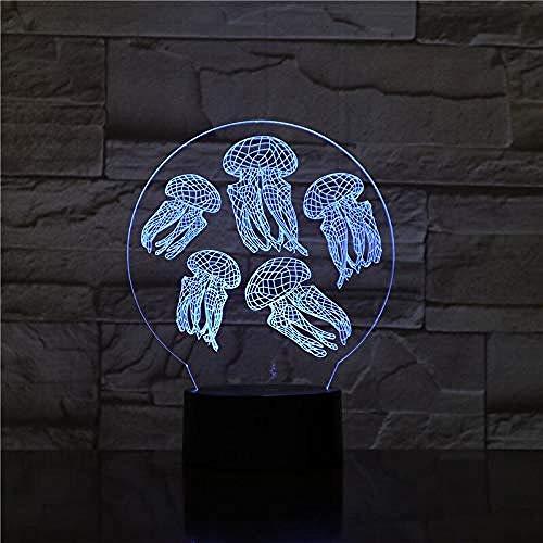 Medusa lámpara de la Luz 3D de los Niños de la Luz de la Noche del Bebé Lampara LED Multi Colores de Iluminación de Cristal de Peces para Niños Regalos Decoración 7 Control Remoto Regalo