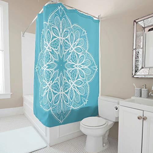 O5KFD & 8 blauw mandala-patroon stijlvolle verscheidenheid douchegordijn personaliseren gemakkelijk te wassen badgordijnen set met ringen - wit voor apartment
