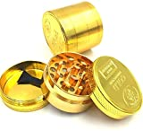 Herb Grinder-Weed/Tobacco/Spiceder 4-in-1 Big Alumium Durable Herb Grinder with Pollen Catcher, Suitable for Home Use, Small and Convenient to Carry-Gold Aluminum