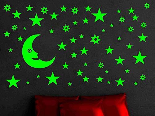 DreamKraft Glow in The Dark Galaxy of Stars with Moon Radium Sticker (Green)