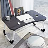 HOPz Multi-Purpose Laptop Table/Bed Table/Wooden Foldable Bed Table/LAPDESK/Study Table/Portable Table with Cup Holder (Black and Silver Stripes)