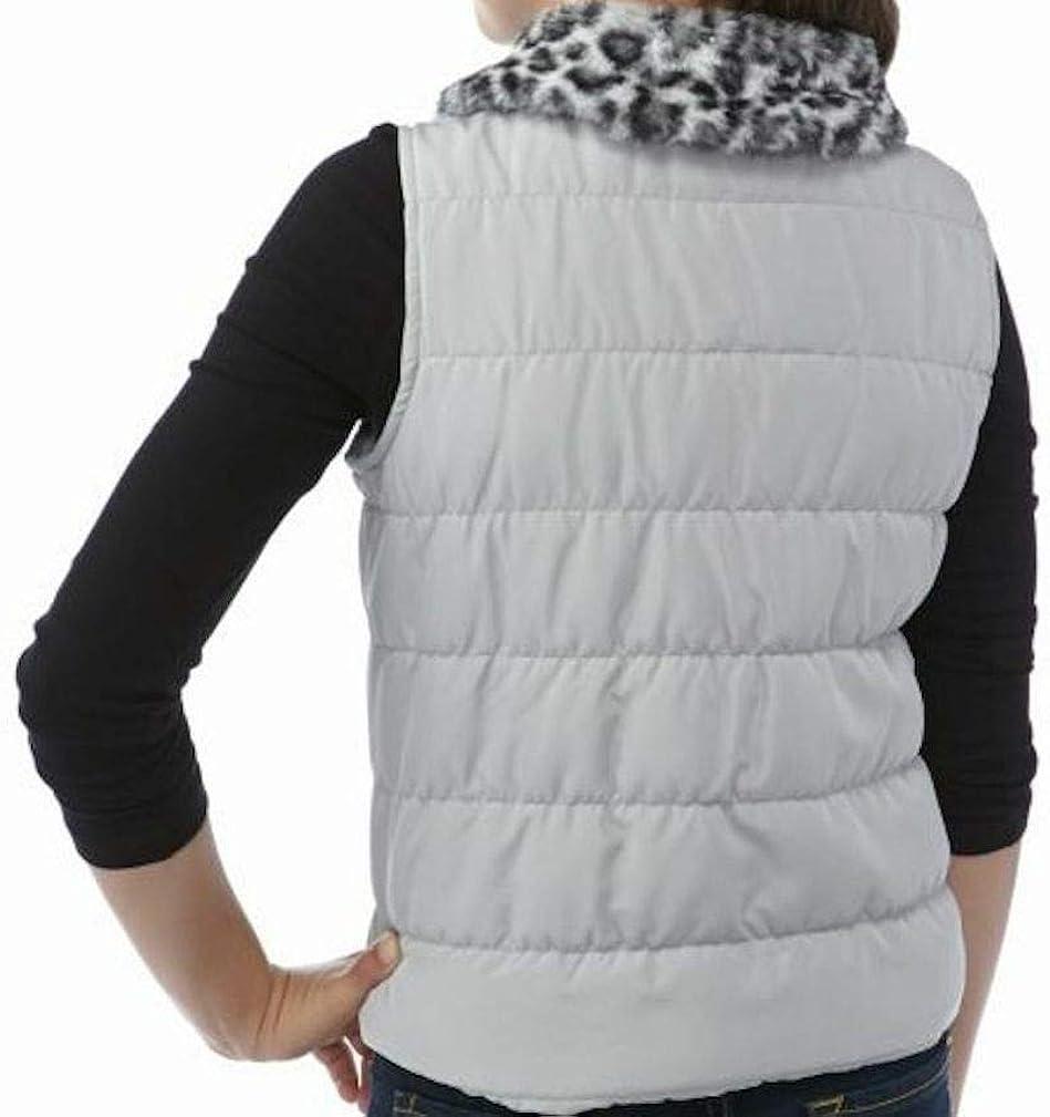 J Khaki Faux Fur Collar Puffer Vest Girls
