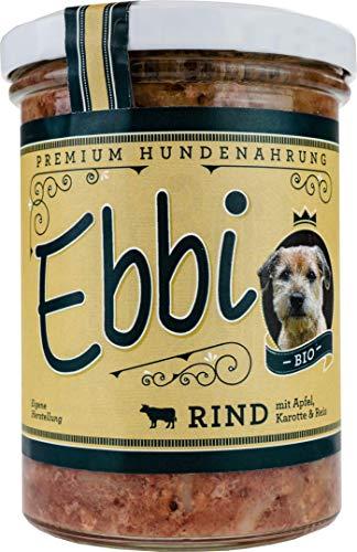 Wuff & Mau Bio Hundefutter mit Rind, Apfel, Karotte und Reis/Ebbi Inhalt: 400g Hundenahrung im wiederverschließbarem Glas (4 x 400g)