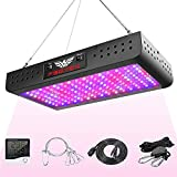 FSGTEK 1500W LED Grow Light Double Switch with Daisy Chain, Temperature and Humidity Monitor, Adjustable Rope, Full Spectrum Grow Lamp for Indoor Hydroponic Plants Vegetative and Flowering