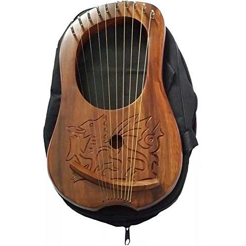 HW Lyra Harfe Gravur Keltischer Walisischer Drache/Lyra Harfe Sheesham Holz Dragon