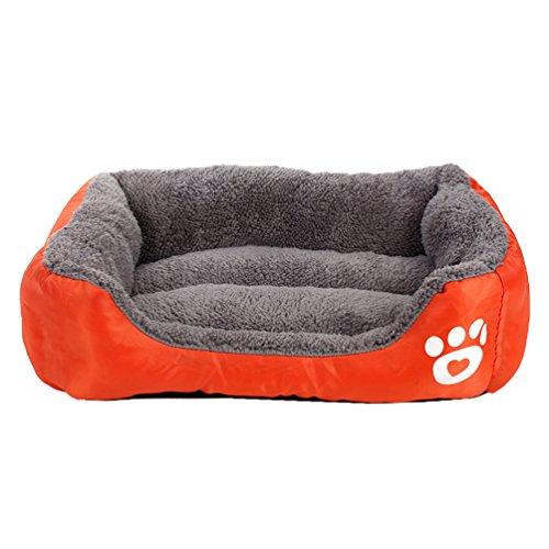 LvRao Haustierbett Weiches Hundekissen Warm Flauschig Plüsch Hundebetten Hundekissen Hundedecke Welpe Katze Tierbett (Orange, M: 58 * 45 * 14CM)