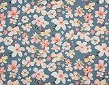 Jersey, Bunte Blumen auf Mint- Digitaldruck - als Meterware