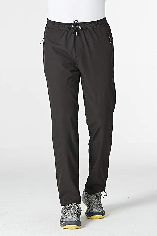 FASKUNOIE Mens Quick Dry Joggers Hiking Running Pants Lightweight Trousers with Zipper Pockets