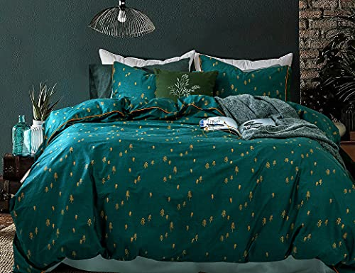 Opcloud Bedding Duvet-Cover-Set, Queen Green Pine Pattern Cotton Luxury High Thread Soft Bedding Set,1 Duvet Cover and 2 Pillow Shams Comforter Cover-Set