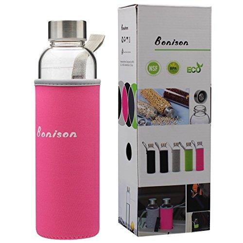 BONISON Stylish Environmental Borosilicate Glass Water Bottle with Colorful Nylon Sleeve (18oz) (PINK)