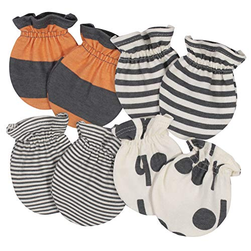 Product Image of the Grow by Gerber Baby Boys Organic 4-Pack Mittens, Grey/Ivory/Orange, 0-3 Months