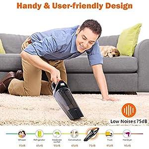 VACPOWER 6500pA Handstaubsauger Akku Beutellos, Akku Handstaubsauger mit wiederaufladbarer 2500mA Batterie und verbessertem Hepa-Filter für Heim und Auto