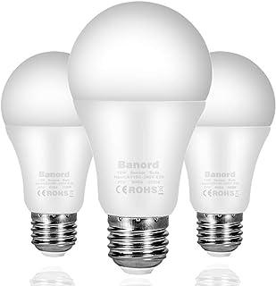 Banord Dusk to Dawn Light Bulbs, 3 Pack A19 Outdoor Sensor Bulbs with E26/E27 Base, 12W..