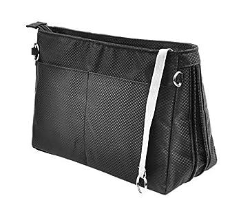 Vercord Expandable Nylon Handbag Purse Organizer Insert Liner Shaper Bag in Bag Black Medium