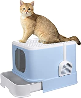 PaWz Cat Litter Box Fully Enclosed Kitty Toilet Trapping Odor Control Basin Blue
