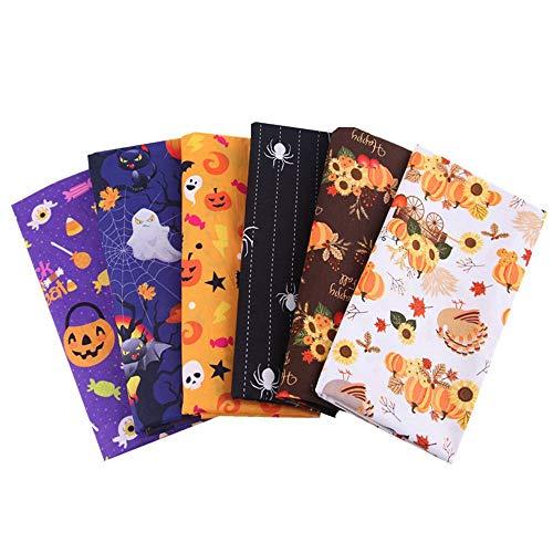 MoonyLI Lot de Tissus en Coton d'halloween Citrouille d'halloween, fantôme, araignée, Tissu de Coton à Motif de Tournesol Quilting Patchwork Precut Halloween Motif Imprimé Chutes de Tissu