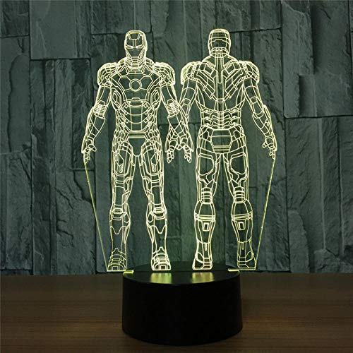 LED-nachtlampje 3D Iron Man Wick Team Action Figuur 7 kleuren Touch Decoration Optische illusie 7 kleuren Touch Change