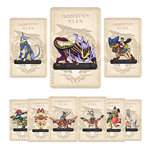9 Pcs Monster Hunter Rise NFC Cards, Palamute, Palico, Magnamalo, Mini Size Game Cards for Switch/Switch Lite