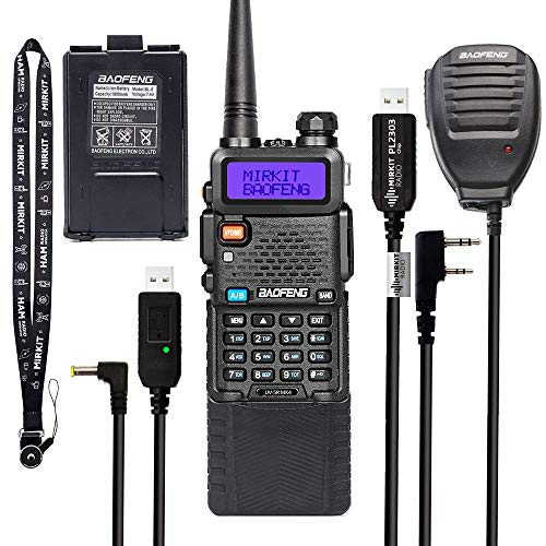 Extended Ham Radio Handheld Starter Kit Mirkit Baofeng Radio UV-5R MK4 8 Watt Max Power with 3800 mAh, Handheld Mic, Baofeng Programming Cable and Software - Extra Pack