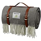 Good Gain Picnic Blanket,Large Picnic Handy Mat with Waterproof Backing, Beach Picnic Rug Foldable with PU Handle Portable for Hiking Camping in Summer Spring or as Festival Gift.Grey Stripe