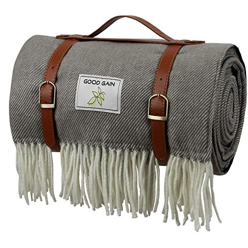 Sale!! Good Gain Wool Picnic Blanket,Waterproof Backing with Handle, 60 x 80 Inch Large Size for Out...
