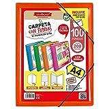 CARPETAS DE FUNDAS A4 STARPLAST - Carpetas de plástico, archivador, portadocumentos, con cierre elástico, tamaño A4, para uso Escolar y de oficina - 100 fundas Naranja