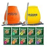Yerba Mate 2x kit de inicio para parejas Conjunto de principiante Yerba Mate Yaguar 10x50g 2x Calabaza de cerámica 350ml 2x Bombilla de acero inoxidable 2x Posavasos 2x Limpiador Producto de Cebador