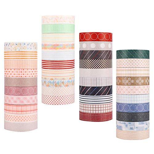 Hileyu Nastro Adesivo Decorativo Colorato Collezione Washi Tapes per Decorare Agende, Scrapbooking, Album Foto e Progetti Artistici (40 Rotoli)