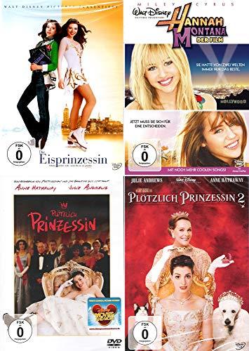 Plötzlich Prinzessin 1 + 2 + Die Eisprinzessin + Hannah Montana - Der Fillm (Teenager 4er DVD-Set]