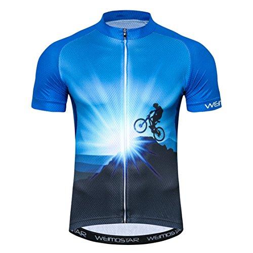 Weimostar Sportbekleidung Radtrikots Kurzarm Fahrradbekleidung Fahrrad top Männer MTB Jersey Atmungsaktive Sommer Blau Größe L