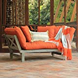 Cambridge Casual Solid Wood West Lake Outdoor Convertible Sofa Daybed, Weathered Gray/Brick Cushion