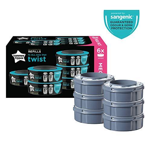 3X Sangenic Tec Refill Baby Nappy Bin Disposal Cassette Bags Sacks Odour Control