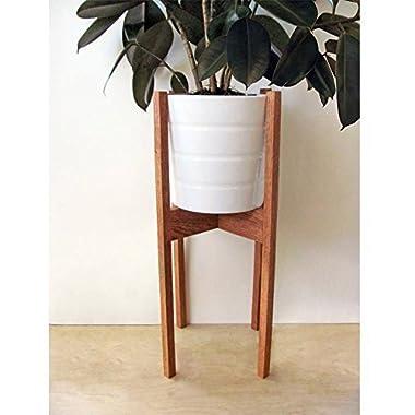 24-Inch Tall Oak Mid-Century Modern Plant Stand